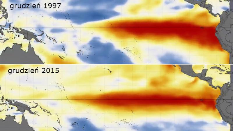 Porównanie El Nino z 2015 i 1997 roku