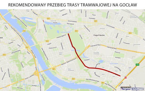 Rekomendowany przebieg trasy tramwajowej na Gocław TVN24