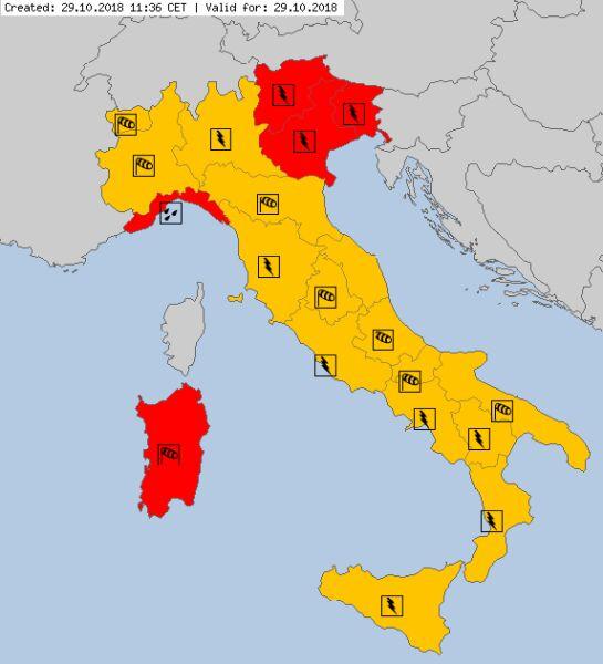 Ostrzeżenia meteorologiczne dla Włoch (meteoalarm.eu/SMDA)
