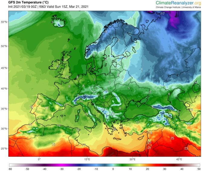 Temperatura w niedzielę 21 marca według modelu GFS/University of Maine (climatereanalyzer.org)